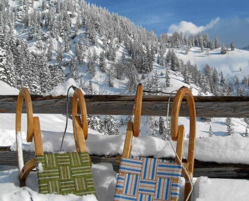 Winter in Zell am See, Rodel, Schmittenhöhe, Villa Klohtilde